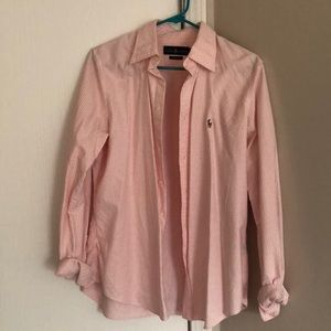 Pink and White Button Down Shirt